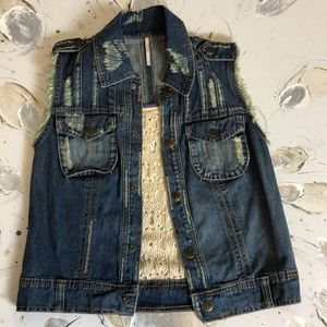Free People Distressed Jean Vest Size Small